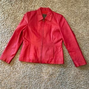 Super cute red leather jacket